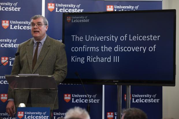 Lead archaeologist Richard Buckley speaks during a news conference at the University of Leicester announcing that recently discovered human remains are those of King Richard III.