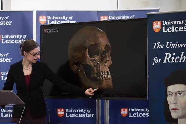 Dr. Jo Appleby speaks during a news conference at the University Of Leicester as archaeologists announce that recently unearthed remains are those of King Richard III.