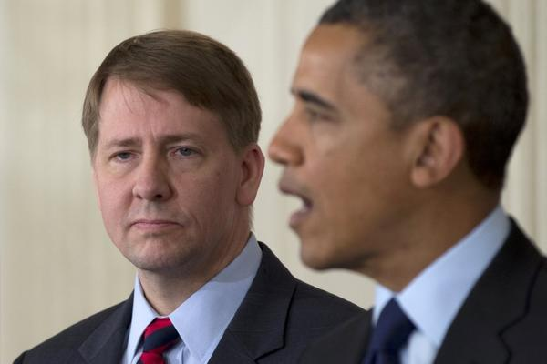 Richard Cordray watches as President Obama announces that he will renominate him to lead the Consumer Financial Protection Bureau.