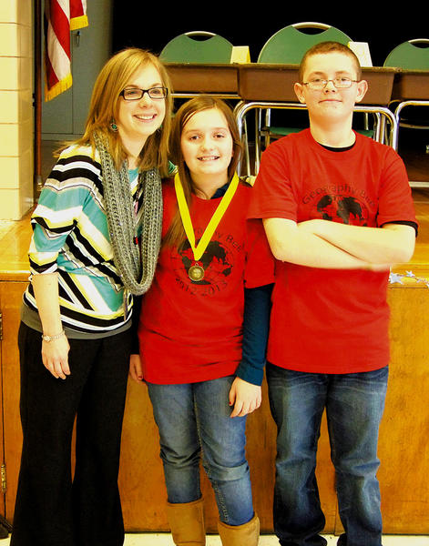 Fountaindale Elementary School held its geography bee recently. The finalists were Nicholas Profilio, Garrison Howell, Tyler Remsburg, Sam Burzinski, Alexandra Saunders, Michael Keats, Kaylee Newman, Owen Strite, Peggy Mothershed and Melanie Boschen. From left, teacher Jennie Leatherman, geography bee winner Mothershed and runner-up Strite.