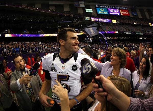 Joe Flacco celebrates the Baltimore Ravens' Super Bowl victory.