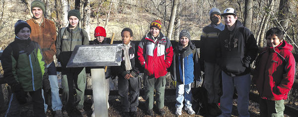 Scouts of Troop 412 and Pack 34 participated in a hike Jan. 19 at Antietam National Battlefield. From left, Holden Strausser, Braydon Strausser, Ryan Maguire, Michael Hoffman (Pack 34), Devonte Johnson, Sean Maguire (Pack 34), Landon Strausser, Kole Faokunla, Aaron Haden and Joshua Macias (Pack 34).