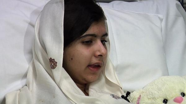 A British hospital released this image from a video of an interview with Pakistani schoolgirl Malala Yousafzai after surgery to repair wounds she received when she was shot by the Taliban.