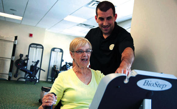 At continuing care community GreenFields in Geneva, residents can participate in Senior LIFEsteps, a program that evaluates physical activity including balance issues.