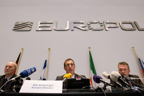 Europol chief Rob Wainwright, center, discussing a probe of suspected fixing of soccer matches at a news conference Monday.