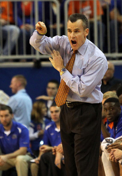 Florida Gators head coach Billy Donovan reacts during the first half against the Ole Miss Rebels at the Stephen C. O'Connell Center.