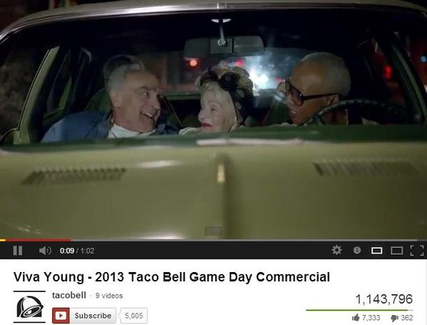 A screen shot from Taco Bell's 2013 Super Bowl commercial