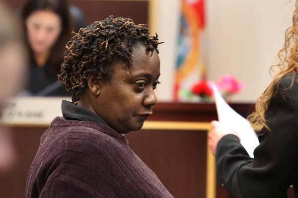 Catalina Ruffin-Sinclair,52, mother of murder suspect Bessman Okafor appears in Orange County court.