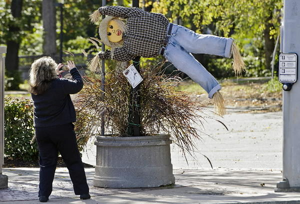 The annual scarecrows on Main Street is organized by the Downtown Manchester Special Services District.