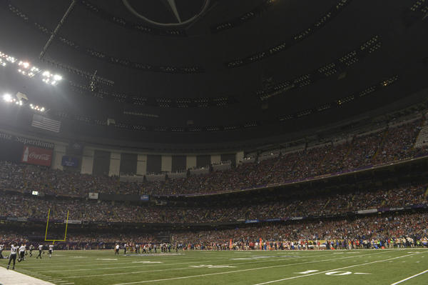 A stop in play caused by blackout in the third quarter in Super Bowl XLVII between the San Francisco 49ers and the Baltimore Ravens at the Mercedes-Benz Superdome.