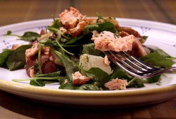 Grilled salmon salad.