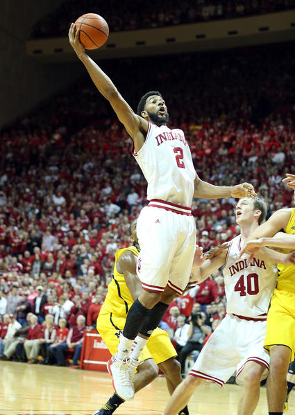 Christian Watford #2 of the Indiana Hoosiers grabs a rebound during the game against the Michigan Wolverines at Assembly Hall on February 2, 2013 in Bloomington, Indiana.