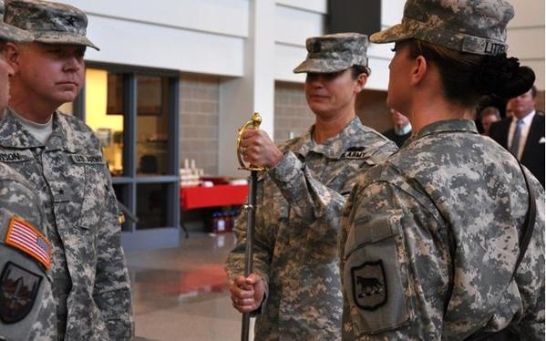 The South Dakota Army National Guard appointed its first female to the highest ranking senior-enlisted position in the state during a change of responsibility ceremony Saturday, Feb. 2, at the Joint Force Headquarters building on Camp Rapid.  Command Sgt. Maj. Susan Shoe replaces State Command Sgt. Maj. Larry Zimmerman as the new state command sergeant major, the highest ranking noncommissioned officer position for the South Dakota Army National Guard.