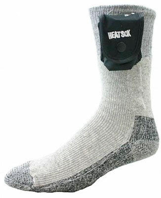 Grabber Heat Sox are like electric blankets for your feet, that you wear. They are made of a blend of wool, nylon, Spandex and Dupont Thermolite. A small battery pack attached to the top of the sock generates safe heat to the embedded coil in the sock. Dual temperature settings let you control the amount of warmth. Enjoy as many as 13 hours on one D battery per sock. You can also wear the socks without the battery pack, which is removable.  $25 at thewarmingstore.com, Cabela's, and Target.com.