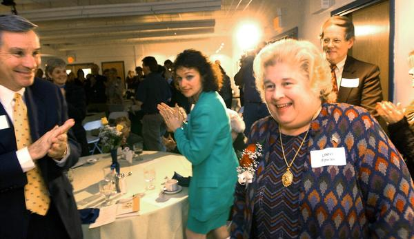 "The Fowler Arts and Education Center was dedicated today Thursday April 4, 2002.  The center is part of the Banana Factory, located 25 W. Third Street.  The center is named after longtime arts patrons Marlene ""Linny"" Fowler(right) and her husband Beall Fowler(background right) come up to say a few remarks during the dedication ceremony."