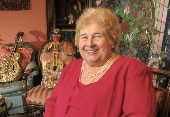 Bethlehem philanthropist Linny Fowler is seated inside the living room of her Center Street home on Thursday, Sept. 24, 2009