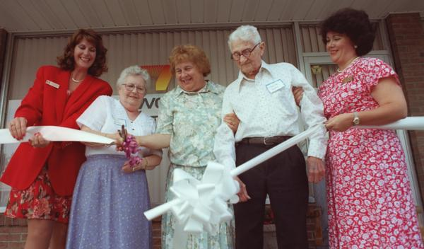 The Bethlehem YWCA opened its new adult day care center at 1456 Roselawn Avenue in Hanover Township Thursday, June 18, 1998. Pictured cutting the ribbon are, from left, YWCA President Leslie Kingston, Marion Horton, Linny Fowler, Charlie Dubbs and Andria Keil Bilan. The center is located in the Westgate Professional Center, Hanover Township, Northampton County near Schoenersville Road across from the Westgate Mall.