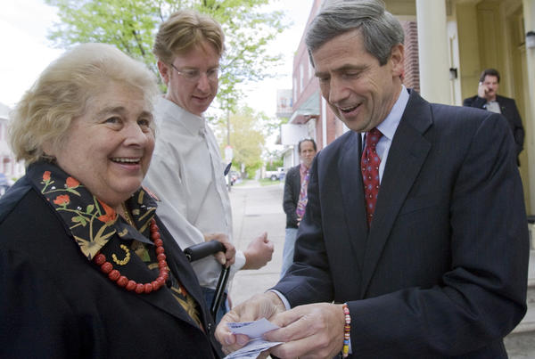Joe Sestak, a democrat running for the US senate, spoke with Linny Fowler and campaign volunteer Jeff Cook, before he spoke of his plans for small business at JF Magic on Broad Street in Bethlehem on Monday. He spoke about increasing government help for small businesses. Bethlehem: Monday, April 19, 2010
