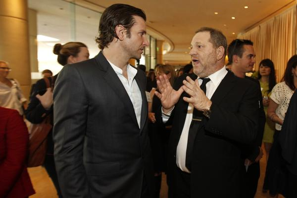 """Silver Linings Playbook"" lead actor nominee Bradley Cooper and Harvey Weinstein."