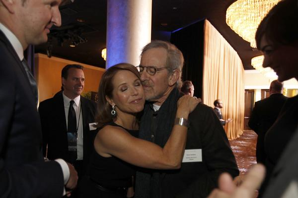 "Katie Couric and ""Lincoln"" director nominee Steven Spielberg."