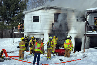 Crews from five different departments battled this blaze along Keysertown Road at 11:42 a.m. Monday.