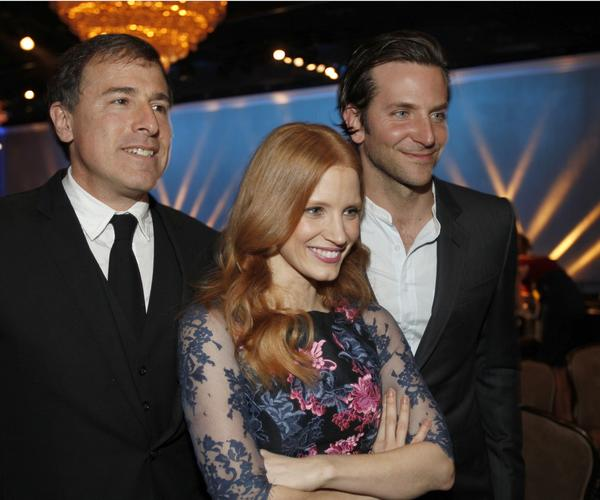 """Silver Linings Playbook"" director nominee David O. Russell, left, ""Zero Dark Thirty"" lead actress nominee Jessica Chastain and ""Silver Linings Playbook"" lead actor nominee Bradley Cooper."