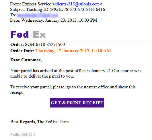 Fake FedEx notice