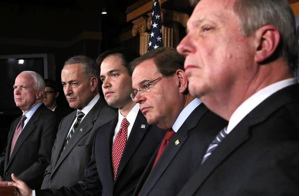 Immigration reform has the attention of, from left, Sen. John McCain, R-Ariz.; Sen. Charles Schumer, D-N.Y.; Sen. Marco Rubio, R-Fla.; Sen. Robert Menendez, D-N.J.; and Majority Whip Sen. Richard Durbin, D-Ill.