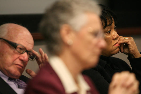 State Sen. Joseph Crisco, Rep. Elizabeth Ritter and Medical Services Committee co-chairwoman Sen. Tony Harp listen to Newtown parent Jennifer Maksel describe her struggles to get her 12-year-old child mental health care at a hearing Jan. 29 in Hartford.