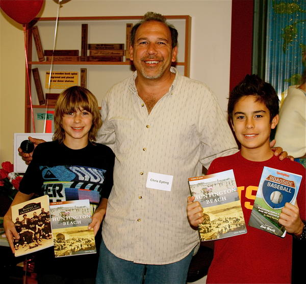 Jacob Azevedo, Chris Epting and Cisco Haley at the Huntington Beach Central Library for Author's Day.