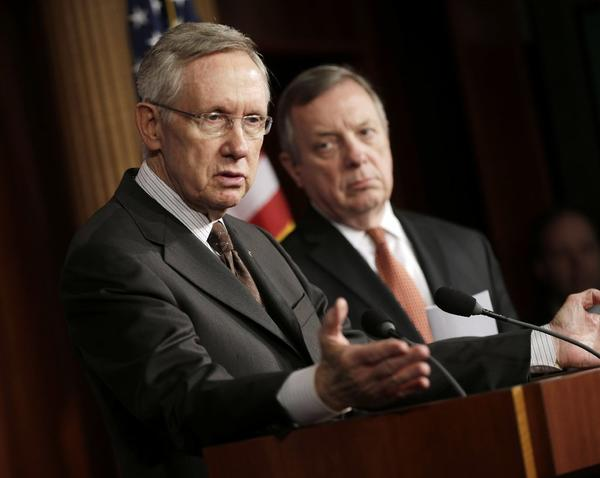Senate Majority Leader Harry Reid (D-Nev.), with Majority Whip Dick Durbin (D-Ill.), on Capitol Hill last month.