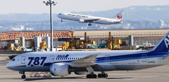 Boeing's 787 Dreamliner has been grounded since Jan. 16 by the FAA because of problems with onboard lithium-ion batteries. Above, an All Nippon Airways 787 parks on the tarmac at Haneda Airport in Tokyo.
