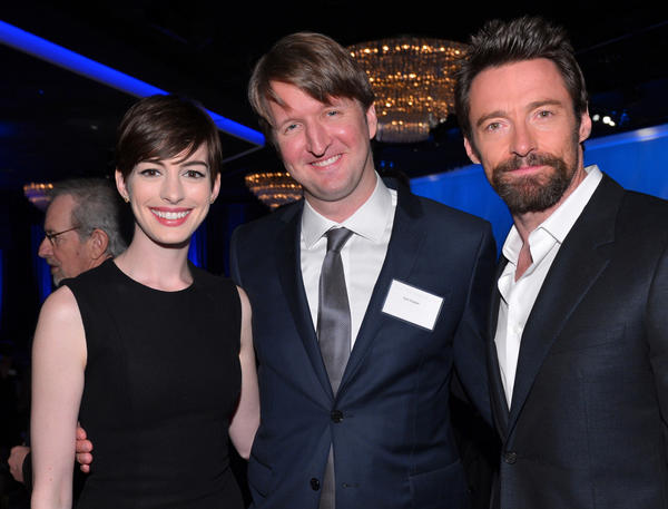 """Les Miserables"" actress Anne Hathaway, director Tom Hooper and costar Hugh Jackman attend the Oscar nominees luncheon at the Beverly Hilton on Monday."