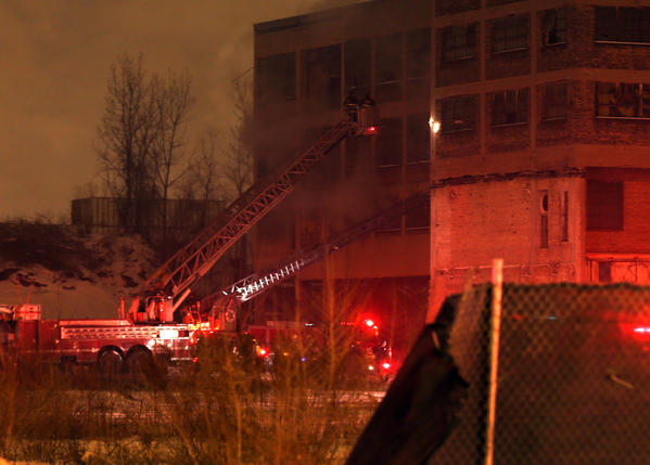 Chicago firefighters on the scene of a 2-11 fire in a vacant warehouse at 4834 S. Halsted Street.
