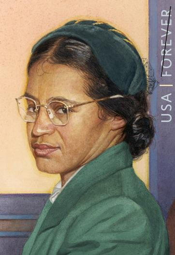 The new Rosa Parks commemorative stamp issued by the U.S. Postal Service
