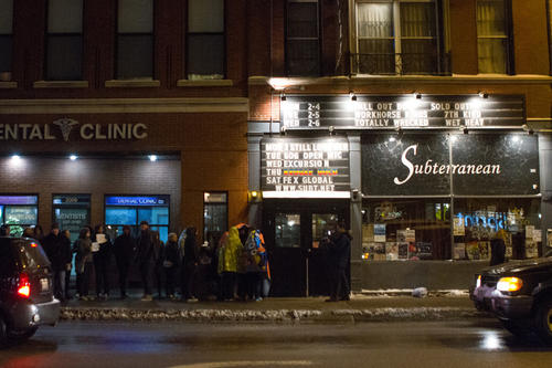 A growing crowd awaits the doors of the Subterranian Theater (2011 W. North St.) to open for the Fall Out Boy reunion concert on Monday, February 4, 2013.