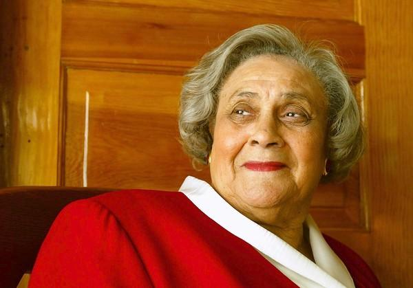 Essie Mae Washington-Williams, daughter of the late Sen. Strom Thurmond of South Carolina -- who made his political career as a staunch segregationist -- poses for a photo at Lady Effie's Tea Parlor in South Los Angeles in 2003. The former L.A. schoolteacher has died in Columbia, S.C., at the age of 87.