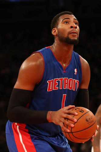 Detroit Pistons center Andre Drummond shoots a free throw during the second quarter against the New York Knicks at Madison Square Garden Monday night.
