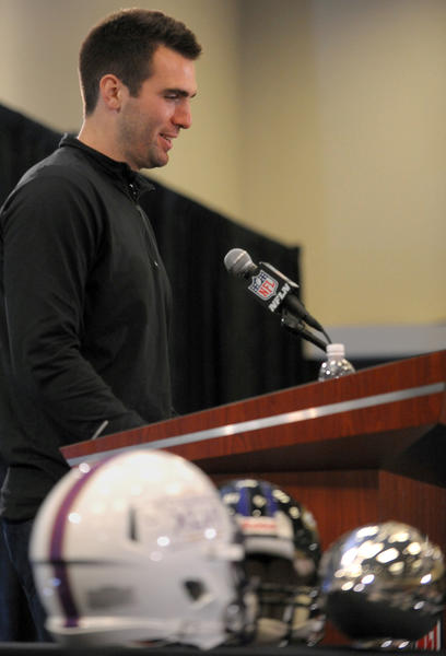 Super Bowl MVP Joe Flacco spoke to the media Monday after their Super Bowl victory. The MVP trophy was in the foreground