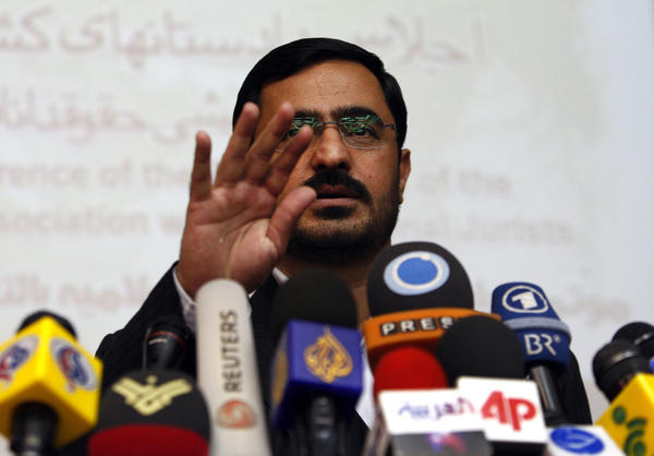 Former Tehran prosecutor Saeed Mortazavi gestures during a news conference in Tehran in 2009. Mortazavi, a close ally of President Mahmoud Ahmadinejad, has been arrested, two years after a parliamentary probe found him responsible for deaths by torture of at least three jailed anti-government protesters, state media reported.