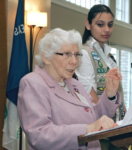 Philanthropist Priscilla Payne Hurd amuses the crowd with her comments as she accepts a 2010 Take The Lead Award presented by Girl Scout Ambassador Bernadette Schwarz, right, a Parkland High School Junior. The Girl Scouts of Eastern Pennsylvania hosted the annual event April 27 at Lehigh Country Club.