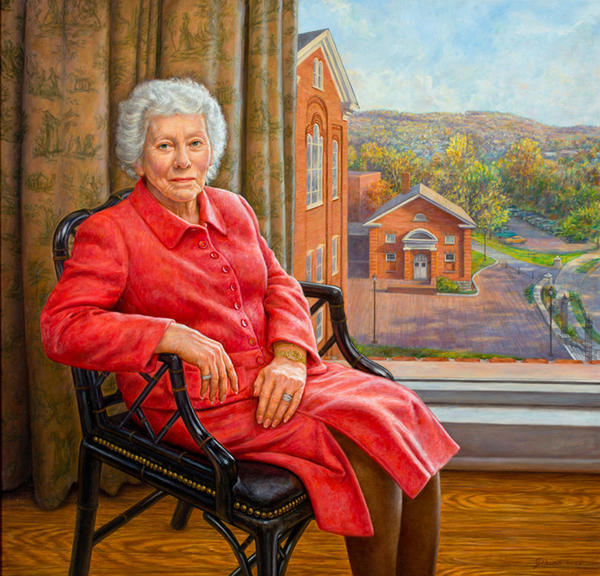Portrait of Priscilla Payne Hurd, 2007, by Edgar Jerins, is on display in Celebrate, Celebrate, which celebrates 30 years of the Payne Gallery at Moravian College and its patron Priscilla Payne Hurd.