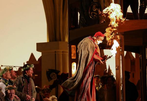 "Actor Wesley Daniel is covered in flames in a mishap during a dress rehearsal of Lyric Opera of Chicago's Wagner's ""Die Meistersinger von Nurnberg"" at the Civic Opera House Monday."