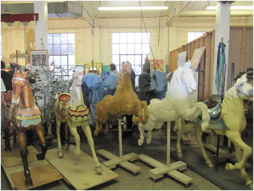 These are the varied stages of completion of the horses which are fixed at this location.