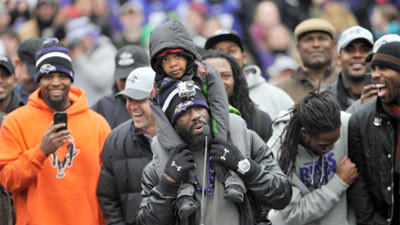 Ravens celebrate during Super Bowl victory rally at M&T Ban…