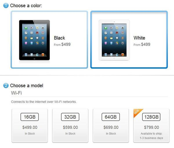 Apple began selling the new 128 GB version of the iPad on Tuesday.