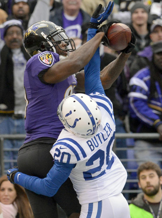 """<i>Jan. 6, 2013</i><br> It was second and 10 in the fourth quarter, with the Ravens on the Colts' 18-yard-line. Flacco takes a shotgun snap and throws a beauty to Boldin in the end zone. Colts cornerback <a class=""""taxInlineTagLink"""" id=""""PESPT0012246"""" title=""""Darius Butler"""" href=""""/topic/sports/football/darius-butler-PESPT0012246.topic"""">Darius Butler</a> was right there -- he even had his arm up in between Boldin's. Yeah, well Boldin hauled it in anyway. Touchdown Ravens."""