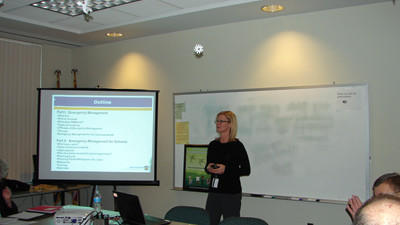 Darlene Bracken, emergency management specialist for the Pennsylvania Emergency Management Agency¿s Western Region Office, speaking at the Somerset County Crisis Response Planning Committee meeting on Tuesday.