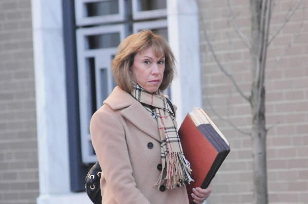 Shelley Marcus leaves U.S. District Court in Hartford Monday afternoon.