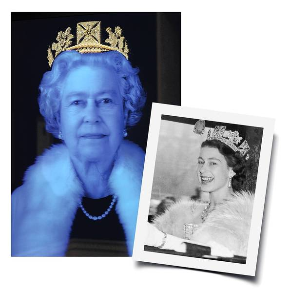 "Queen Elizabeth II is shown wearing the diamond diadem in light artist Chris Levine's 2012 work ""The Diamond Queen,"" and in the smaller 1952 photo on the way to the state opening of Parliament."